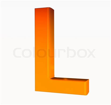 3d L by Orange Alphabet Letter L 3d Isolated On White Stock Photo