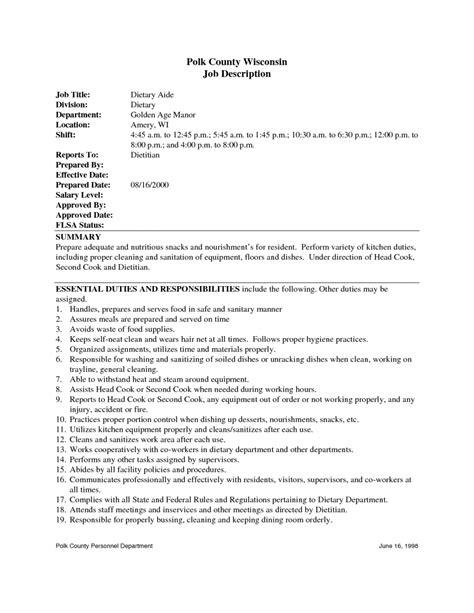 diet aide resume samples resume