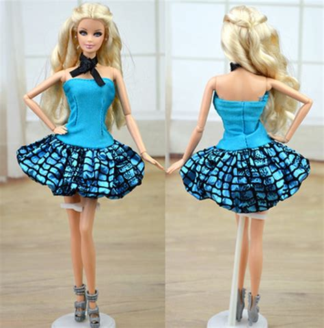 dolls house wardrobe doll accessories blue clothes for barbie doll house dress party gown summer short