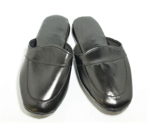 mens leather bedroom slippers men s leather look indoor slippers grace textile