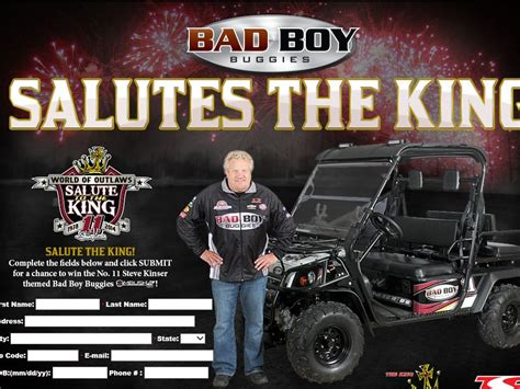 Bad Boy Buggies Sweepstakes - tony stewart racing salutes the king bad boy buggies sweepstakes
