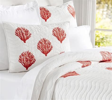 Coral Quilt by Coral Embroidered Quilt Sham Pottery Barn