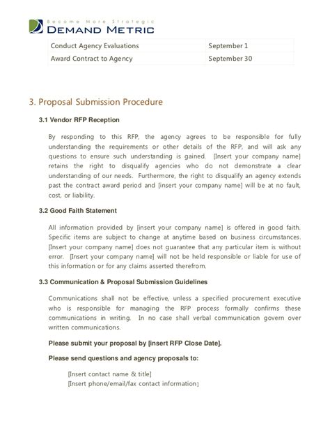 Vendor Award Letter Template Advertising Agency Rfp Template