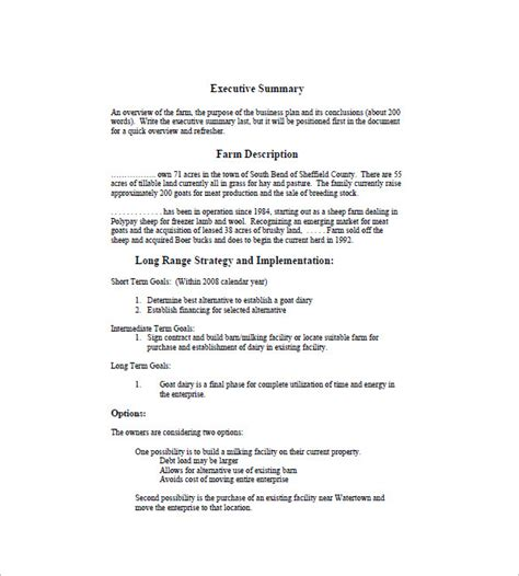 farm business plan template farm business plan template 13 free word excel pdf