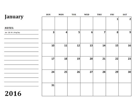 2016 Monthly Calendar Template 2016 monthly calendar template 03 free printable templates