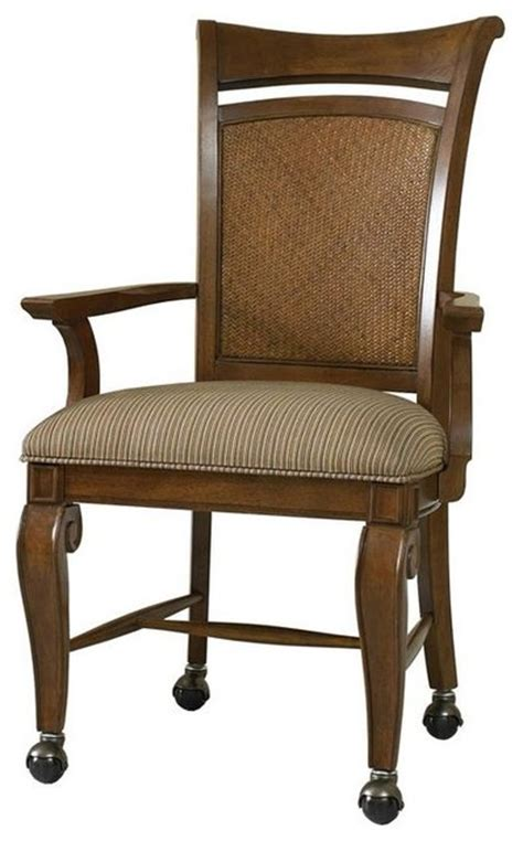 castered arm chair set of 2 traditional dining