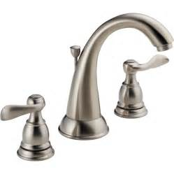 shop delta windemere brushed nickel 2 handle widespread - Brushed Nickel Bathroom Sink Faucet