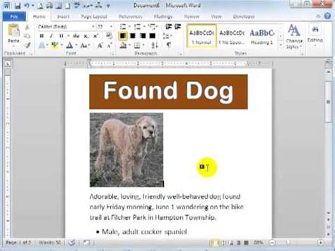 how to create a flyer in word 2010 founddog youtube