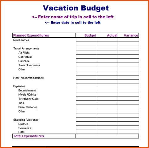 vacation template vacation planner templatememo templates word memo