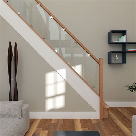 Banister Glass glass staircase balustrade kit glass stair parts oak handrails ebay