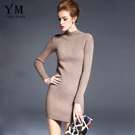 Sweater Smoke High Quality aliexpress buy yuoomuoo new 2017 high quality sweater dress turtleneck slim knitted basic
