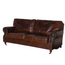 steptoe vintage leather sofa 3 seater