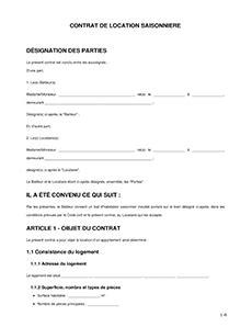 Modele Contrat Cdd Saisonnier Gratuit