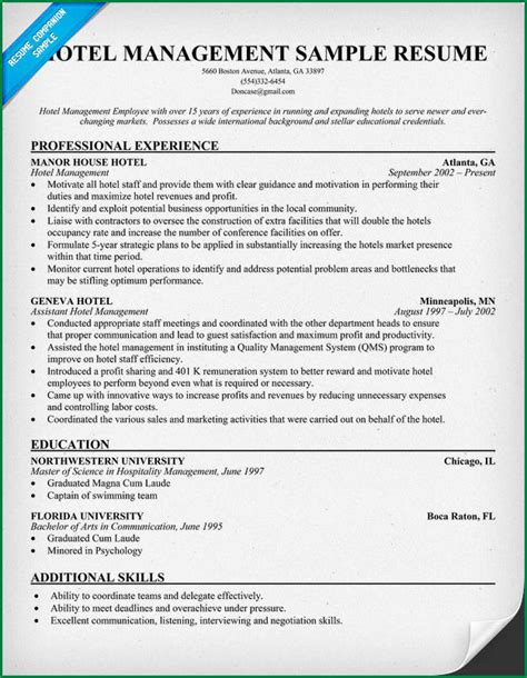 resume format for hotel management students best resume for hotel management resume ideas