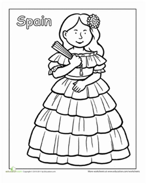 multicultural coloring pages preschool multicultural coloring spain worksheet education com