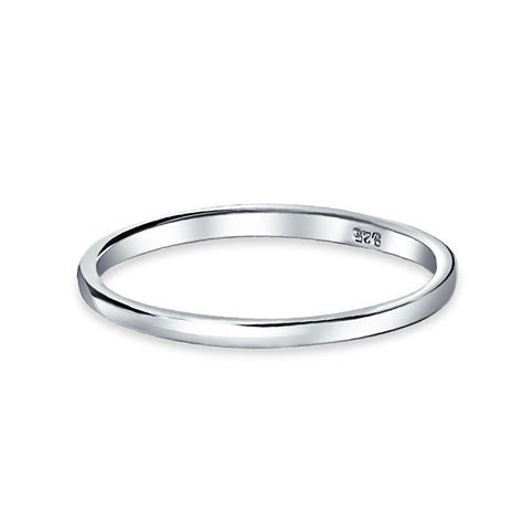 .925 Sterling Silver Wedding Band Thumb Toe Ring 2mm