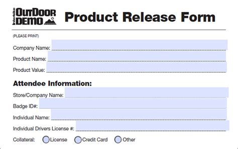 product release form sample product release form sample