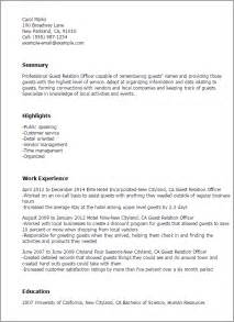 Guest Relations Executive Sle Resume by Professional Guest Relation Officer Templates To Showcase Your Talent Myperfectresume