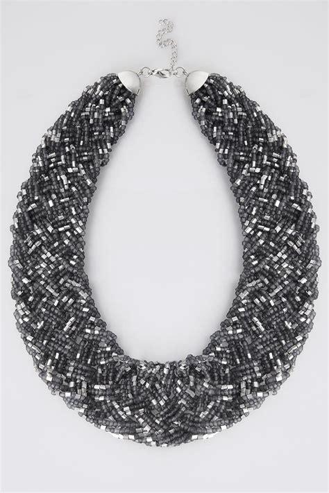 grey silver beaded bib necklace
