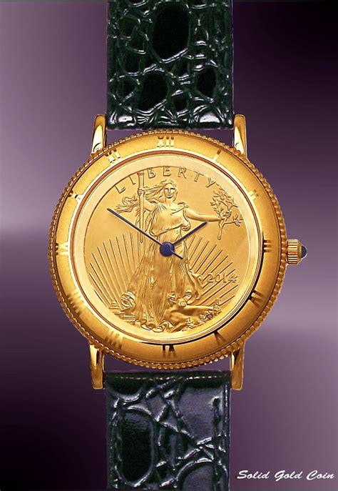coinwatch brand mens solid gold eagle coin uc333 ae25 0