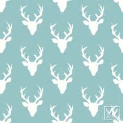 Gray Teal Bedroom - deer antlers pattern on removable wallpaper from bonnie christine wallternatives