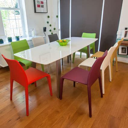White Dining Table And Coloured Chairs White Tables And Funky Coloured Chairs Danetti Lifestyle