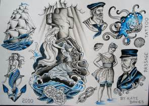 nautical tattoo flash rock of ages ship mermaid vintage