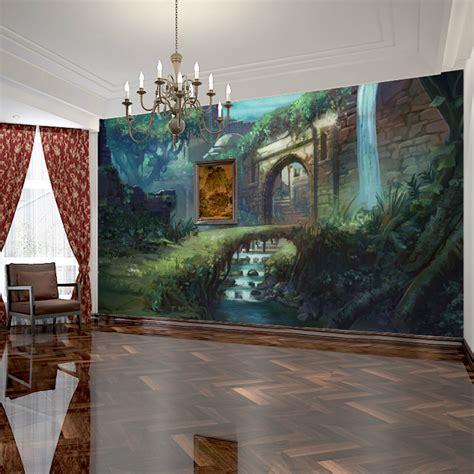 Bedroom Landscape Free Shipping 3d Stereoscopic Landscape Wallpaper