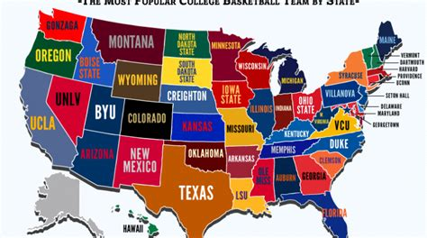 basketball team colors what is the most popular college basketball team in each
