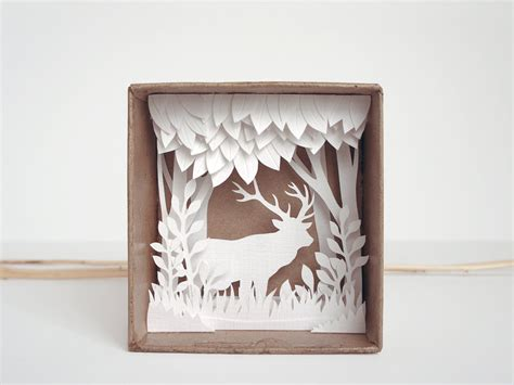 white forest shadow box papercut silhouette natural style