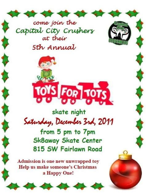Toys For Tot S Skate With The Crushers Night Capital City Crushers Toys For Tots Email Template