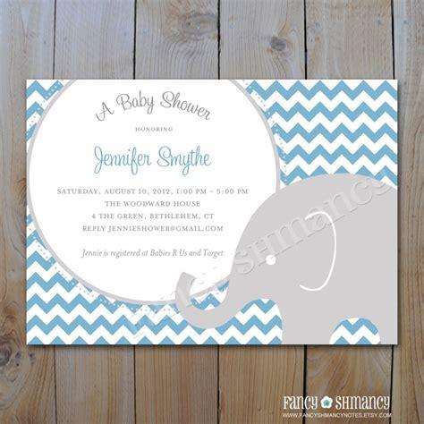 elephant baby shower invitation printable blue and grey