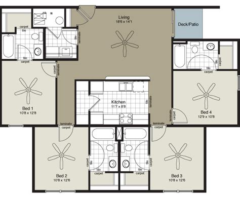 4 bedroom flat floor plan four bedroom flat prairie pointe