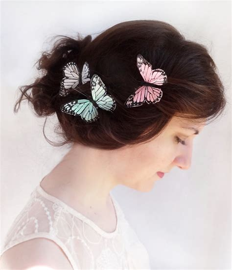 wedding hair accessories green monarch butterfly hair pins bridal hair by thehoneycomb on