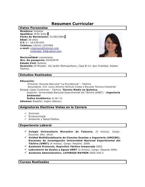 Modelo De Curriculum Vitae Venezolano Mi Curriculum 1 Fotonuevo 1