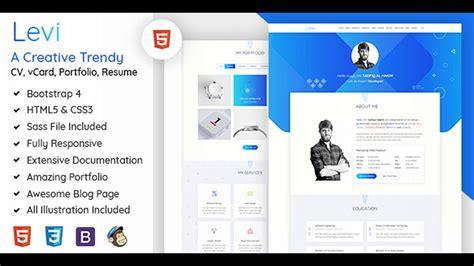 Levi Vcard Cv Resume Portfolio Bootstrap 4 Themeforest Website Templates And Themes Themeforest Website Templates Free