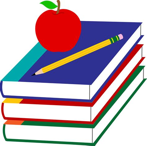 of school picture books school books with apple and pencil free clip