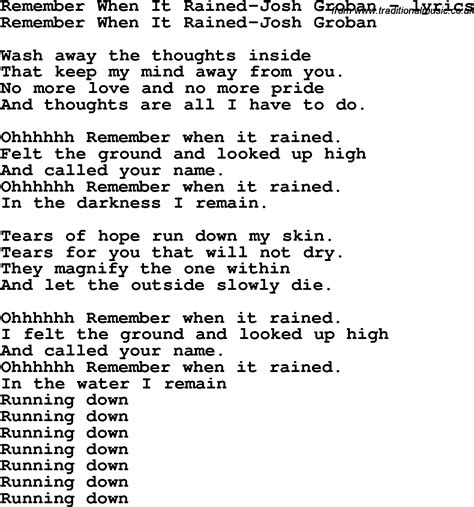 song lyrics for remember when it rained josh groban