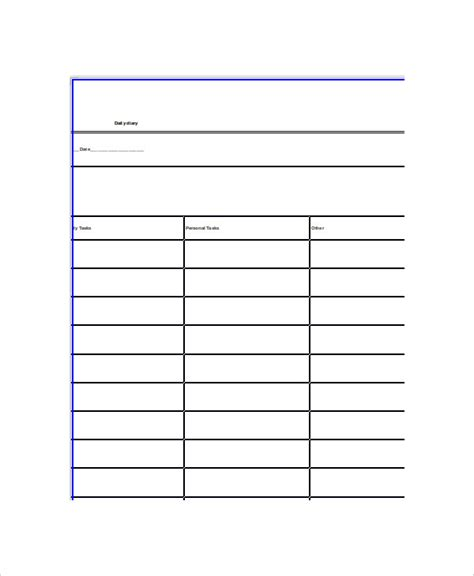 diary card template word diary template 5 free word documents