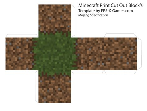 Minecraft Grass Block Papercraft - minecraft grass dirt block template cut out minecraft