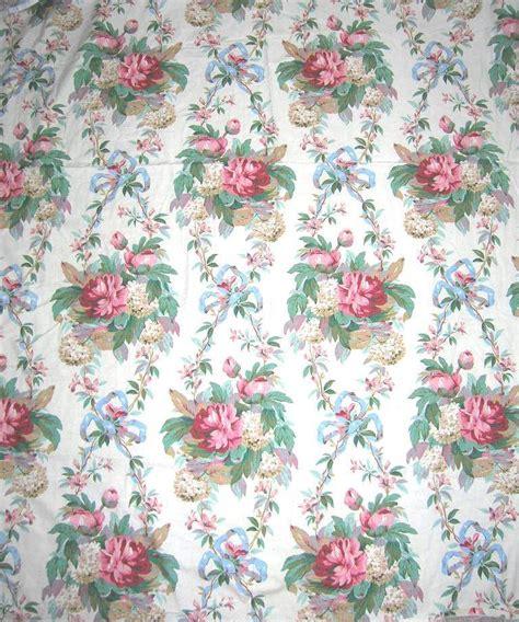 Cottage Fabric by Vintage Barkcloth Era Fabric Cottage Roses Shabby Chic