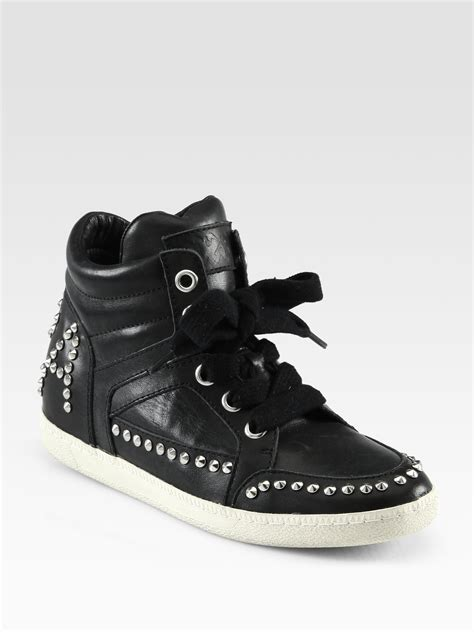 studded sneakers ash zest studded leather laceup sneakers in black lyst