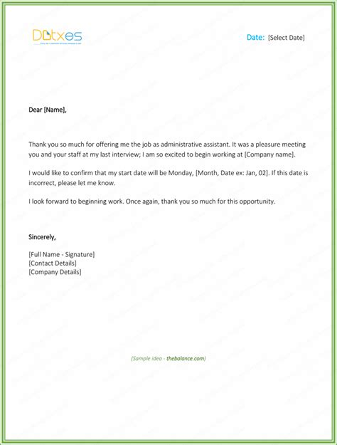 appointment letter response thank you letter for offer free sles