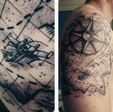 tattoo compass world map interesting combined black ink world map shoulder tattoo