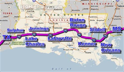 louisiana map i 10 interstate 10 cities images