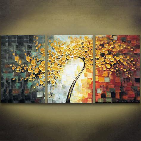 hand painted home decor unframed 3 panels yellow rich tree palette knife painting
