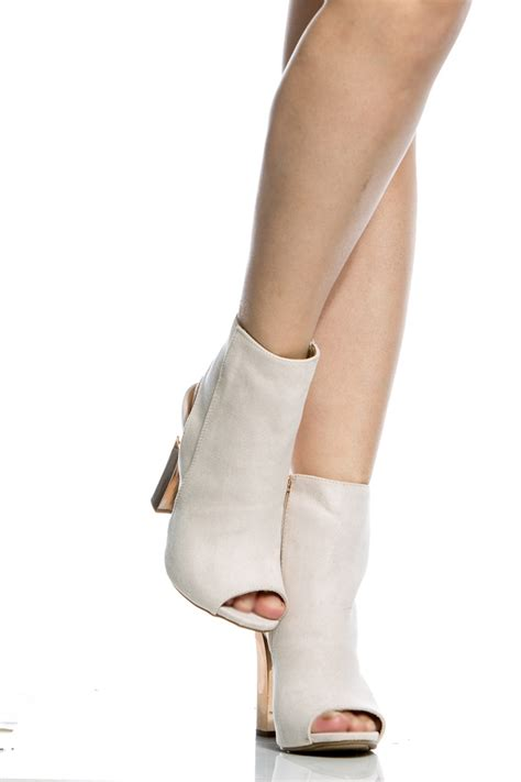 We All Like The Peep Toe But How Bout The Peep Toe Knuckle Introducing Givenchy Cutouts by Ivory Faux Suede Chunky Peep Toe Booties Cicihot