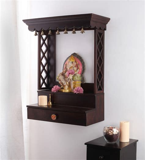 wall mounted pooja cabinet handcrafted wall mounted temple in mango wood aarsun woods