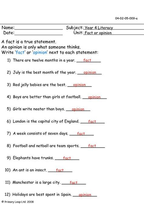 Fact And Opinion Worksheets by Fact Or Opinion 1 Primaryleap Co Uk