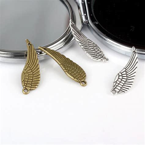 Antique Silver Wing Charm Pendant Connector Bahan Gelang Murah 30 10mm metal charm wings vintage bronze silver